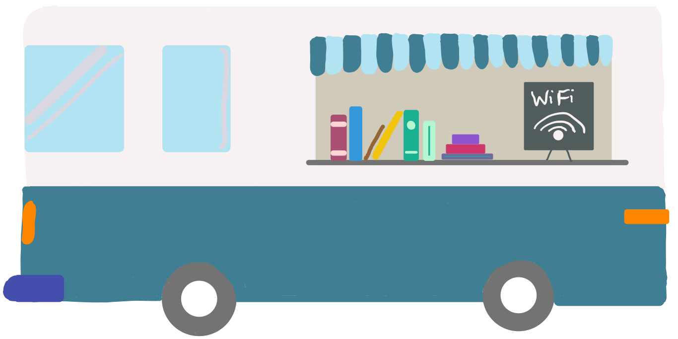hand-drawn blue and white bookmobile with an awning and books and wi-fi sign in the window