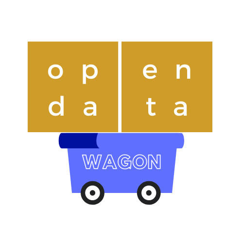 Open Data Wagon Logo - yellow 'open data' text on top of a blue wagon